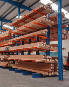 Building materials being stored in a warehouse.