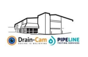 Drain-cam and pipeline logo.